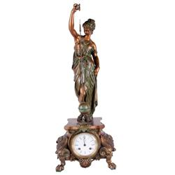 Magnificent French Silk String Swinger statue clock. A fine porcelain dial clock that runs and chime