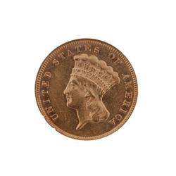 1874 $3 Gold Coin NGC AU/58-RARE