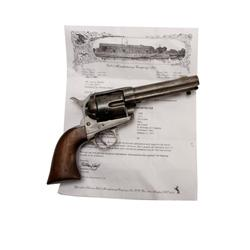 "Colt SAA Cal .45 SN:1300 Barrel reduced to 4 3/4"", wood grips, revolver shows cleaning, restoration,"