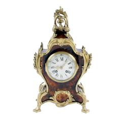 "French Mantle Clock gilt bronze, metal decoration with tortoise shell veneer body, approx 16"" H X 9"""