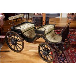 Child's Pony Carriage Circa 1870-1910. Wooden spoke wheels with iron rims, hand pin striped and re-u