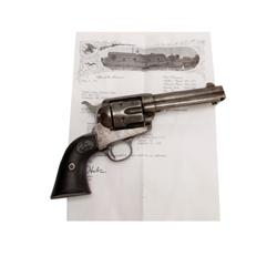 "Colt SAA Cal .45 Colt SN:200540 4 3/4"" BBL, hard rubber grips, factory letter confirms all features"