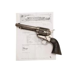 "Colt SAA Cal .38-40 SN:23627 5 1/2"" BBL, patina finish with traces of original blue, hard rubber gri"