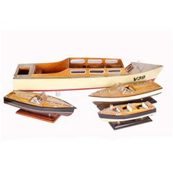 Collection of Four Antique Toy Boats including one large Mercury B 39, one BA 49, and two others. Al