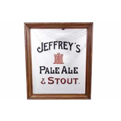"Jeffreys Pale Ale & Stout Advertizer with Mirror with wood frame. Measures 26""W X 32""H.with wood fra"