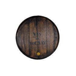 "Antique Wine Barrel Top stenciled ""Vin de Volnay"" with metal embossed grape steel. Late 19th-early 2"