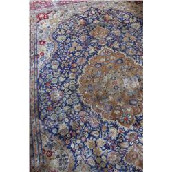 Antique Rug with Floral Design Possibly silk blend, in Navy, Sage, Pink, and Terra Cotta. In overall