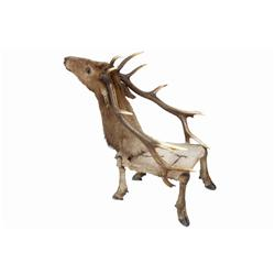 Unusual Elk Chair in as-found condition, shows wear and crackingin as-found condition, shows wear an