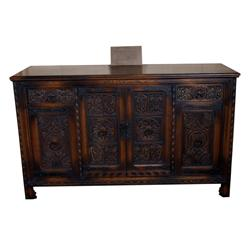 """Ranch Style Hand-Carved Oak Buffet wrought iron handles and strap hinges; dimensions: 66""""L X 40""""H X"""