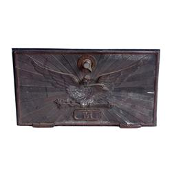 Cast Brass Post Office Box Door Cover showing American Eagle, initial  M   from Murphy Bros Construc