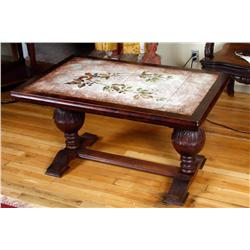 English Turn of the Century Coffee Table walnut with full stretcher bar and top is inlayed with hand