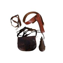 Antique American Hunting Set consisting of leather hunting bag, brass flask, shot wads, other implem