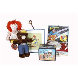 """Bonanza Lot Of Toys including a """"Lone Ranger"""" lunch box, a """"Superman"""" record player, a """"Woody Woodpe"""