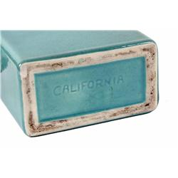 Collection of Art Pottery including two California stamped rectangle vases in turquoise and trimmed