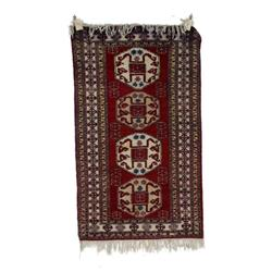 """Persian Hand Woven Carpet approx 61""""X36"""", tribal pattern, in naturals reds and blues, shows some sta"""