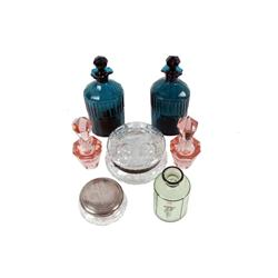 Large Seven Piece Glass Collection including a cut glass monogrammed dresser jar, two pink perfume b