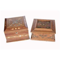 Collection of Two Jewelry or Cigar Boxes including one abalone shell inlaid box, in folk art style,