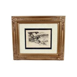 """Original Hand Signed Etching entitled """"Making a Home"""" by R.H. Palenske.  Measures 9 1/2"""" X 12 1/2""""."""