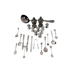 Lot of Silver & Silver Plate Items including spoons, forks, knives, ladle, salt & pepper shakers, an