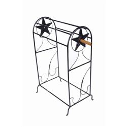 """Wrought Iron Saddle Stand with Texas Star Size is 38""""H X 24""""W.Size is 38""""H X 24""""W."""