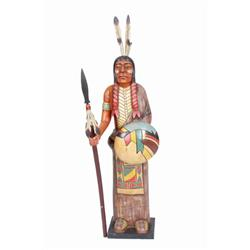 """Carved Wooden Indian Holding a Spear Measures 48""""H X 17 1/2""""W.Measures 48""""H X 17 1/2""""W."""