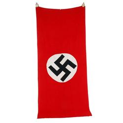 """Original German Nazi Building Flag measures 46 1/2""""W X 109""""L.  A bring back from the war. In excelle"""