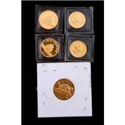 Lot of Five Gold Coins One  5 cent Canadian gold piece dated 1978, one 1982 gold Chinese Panda coin,