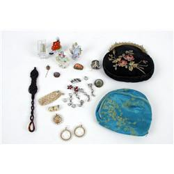 Bonanza Lot of porcelains, costume jewelry, purses, and other finities from 90 year+ lady vanity dre