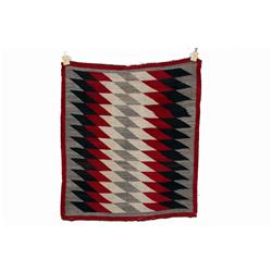 """Navajo All Natural Textile Weaving with geometric design in black, red, green, and grey. Size is 52"""""""