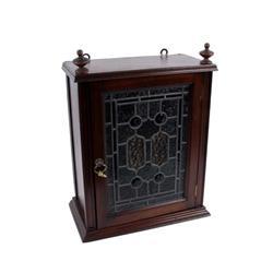 Mahogany Wall Mount Liquor Cabinet with leaded stained glass door.with leaded stained glass door.