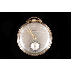 Bulova Pocket Watch Model 17AH, 17 jewel, SN:936789, pop off case, stem set, gold filled case with s