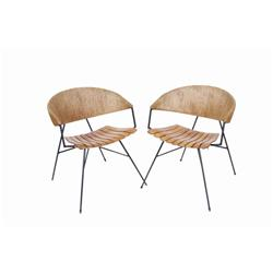 """Set of Two Plank Seated Club Chairs with wicker wrapped backs. 48""""H X 22""""W X 24"""" deep.with wicker wr"""