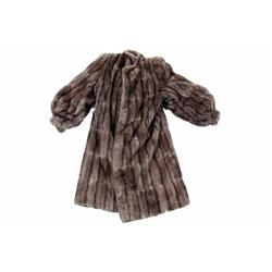 Ladies Fur Trench Coat with rayon lining, 2 pockets, size Medium.with rayon lining, 2 pockets, size