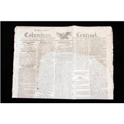 1809 Columbian Newspaper dated January 4, 1809.dated January 4, 1809.