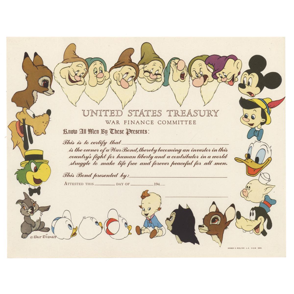 Walt Disney U s  Treasury War Finance Committee