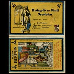 1921 Germany Iserlohn 1 Mark GEM Rare Note (COI-3372)