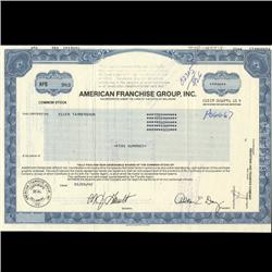 1990s American Franchise Group Stock Certificate Scarce (COI-3457)