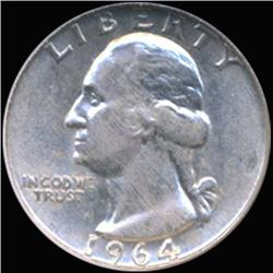 1964D Washington 25c Silver Quarter Coin Graded GEM (COI-6851)