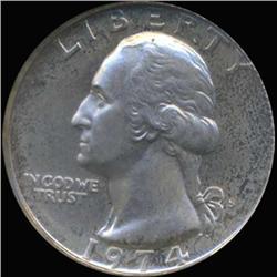 1974S Washington 25c Quarter Coin Graded GEM Proof Deep Cameo (COI-6876)