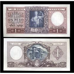 1952 Argentina 1 Peso Note Crisp Uncirculated (CUR-05548)