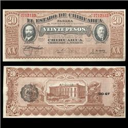 1915 Mexico Revolutionry Chihuahua 20 Peso Crisp Uncirculated Note RARE (CUR-05597)