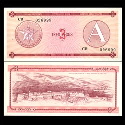 1985 Cuba 3 Peso Foreign Exchange Crisp Uncirculated Note RARE Series A (CUR-05959)