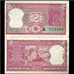 1970 India 2 Rupee Ghandi Crisp Uncirculated (CUR-06201)