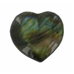 53.08ct Gem Grade Labradorite Polished Heart Neon Peacock Colors (GEM-21169)