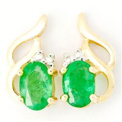 1.34Ct Natural Emerald & Diamond 9K Gold Earrings (JEW-9038X)