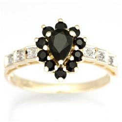 1.14Ct Genuine Black Sapphire & Diamond Ring 9K Gold (JEW-9051X)