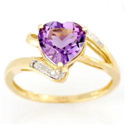 2.15Ct Heart Pink Amethyst & Diamond 9K Gold Ring (JEW-9083X)