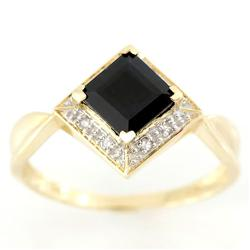 1.50Ct Natural Black Sapphire & Diamond 9K Gold Ring (JEW-9098X)