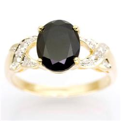 2.52Ct Huge Black Sapphire & Diamond Ring 9K Gold (JEW-9104X)