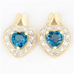 1.12Ct Heart London Blue Topaz Diamond 9K Gold Earrings (JEW-9121X)